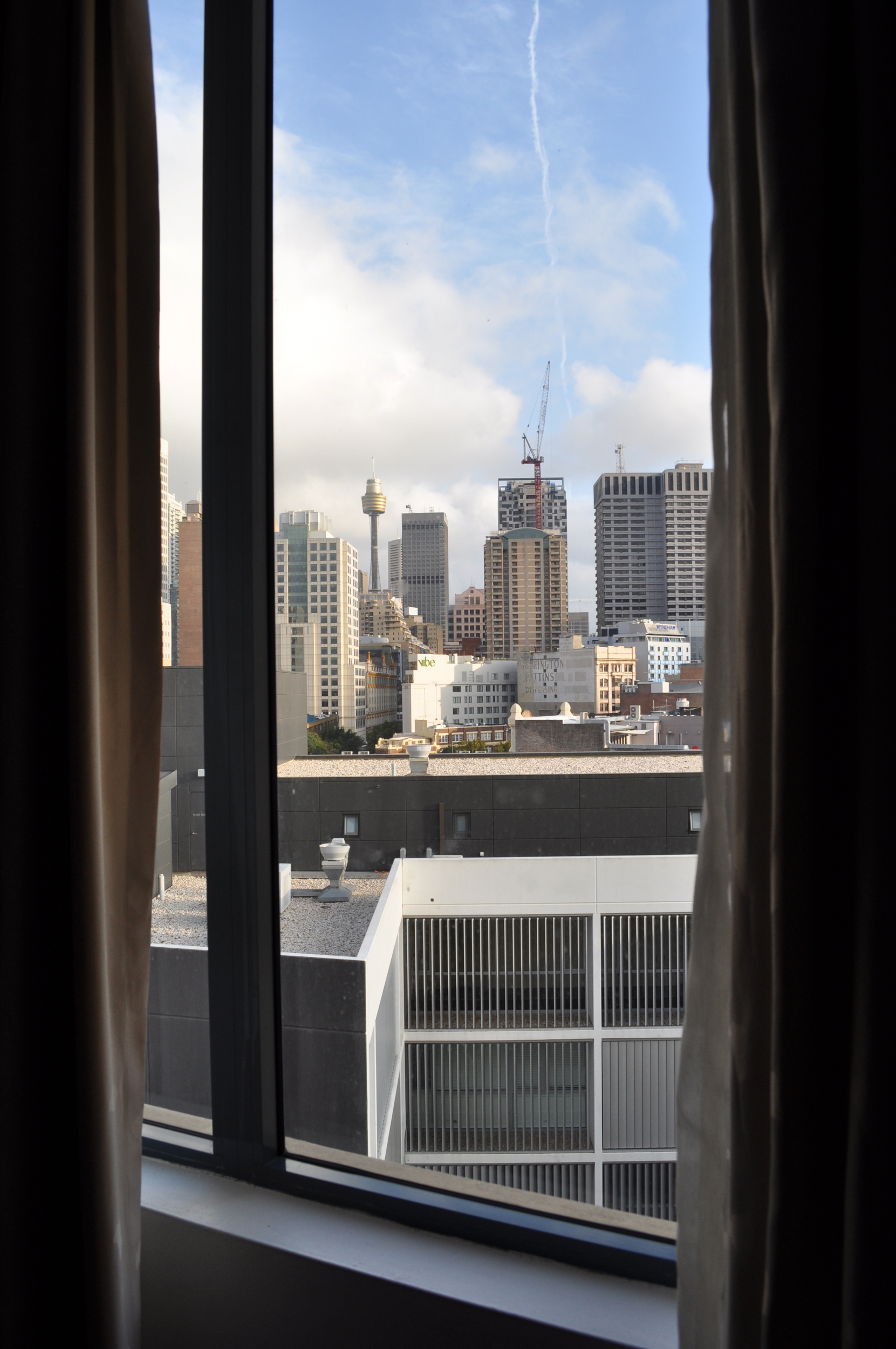 1/28/09-A view of my new city from my 9th floor hotel room at Sebel Surry Hills. Photo by Bobbi Lee Hitchon