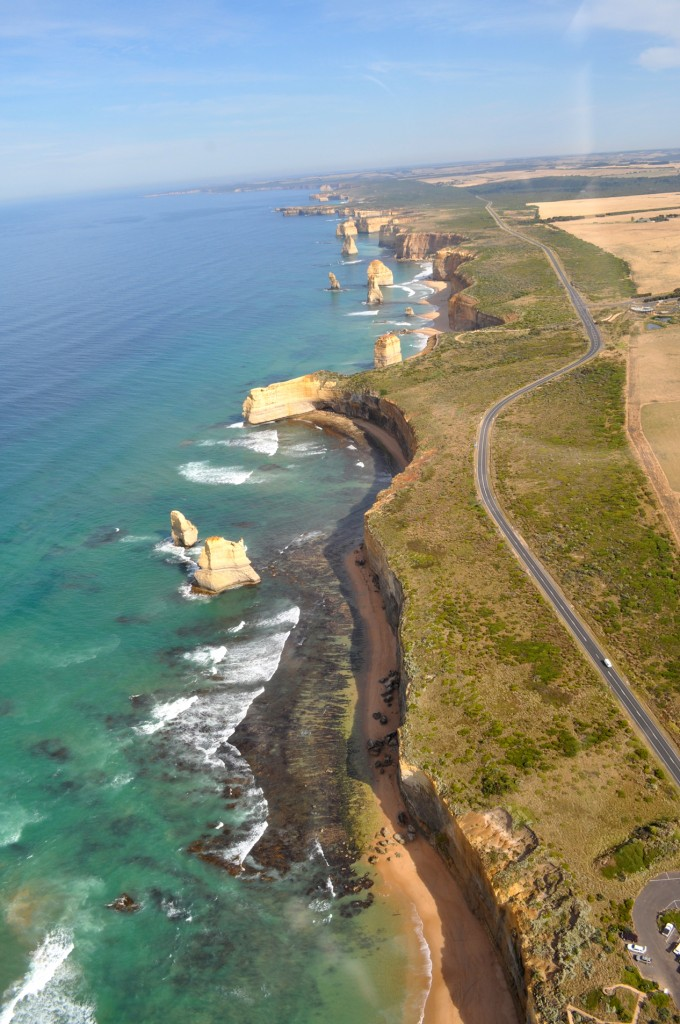 2/10/10-I hightly recommend taking a helicopter ride above the 12 Apostles on Great Ocean Road in Victoria, Austrlia. It cost $70 for a ten minute ride, but the views are priceless. Photo by Bobbi Lee Hitchon