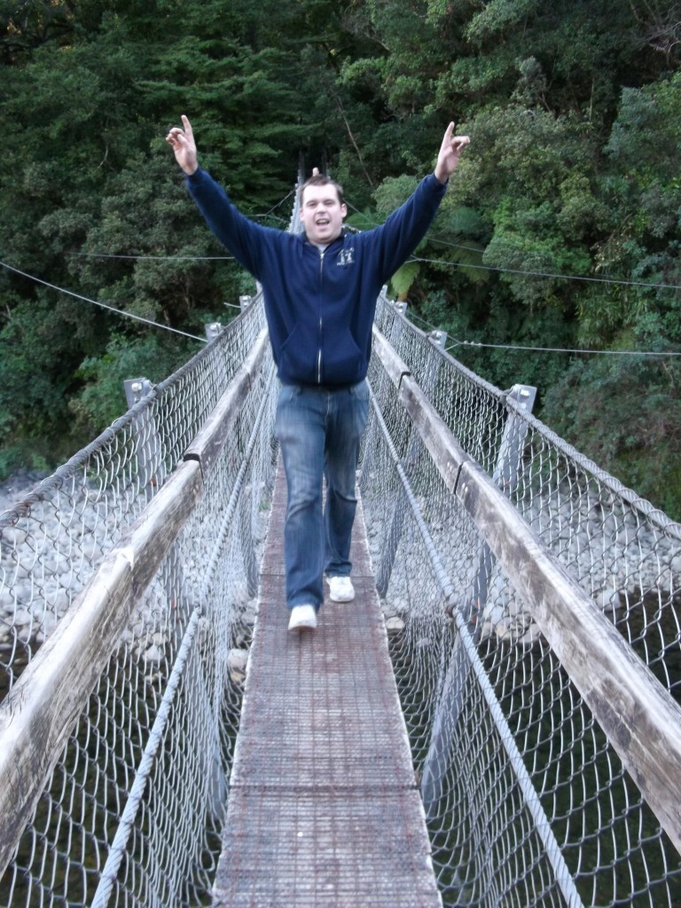 "Ric pretending he's on ""I'm a Celebrity, Get me out of here,"" while walking on the chain bridge at Kaitoke Regional Park."