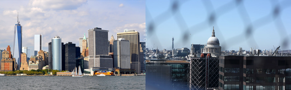 A tale of two Bobbis. To the left is my photo of the New York skyline, to the right is Bobbi-Jo's of the London skyline.